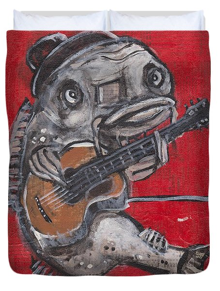 Blues Cat On Guitar Duvet Cover