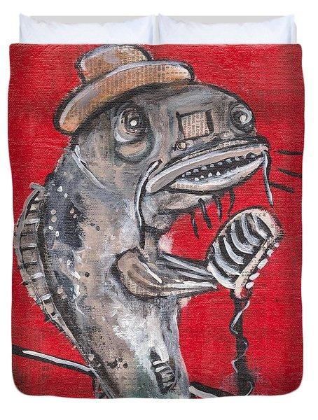 Blues Cat Singer Duvet Cover