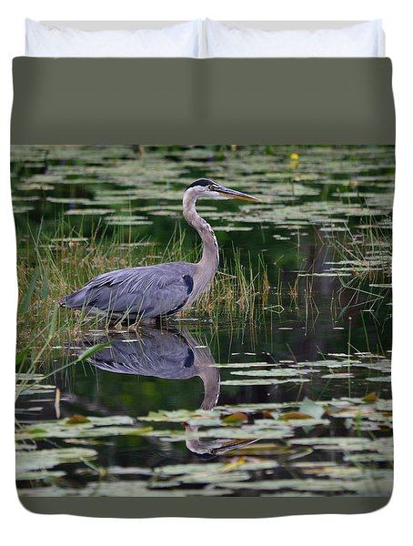 Blue's Image- Great Blue Heron Duvet Cover
