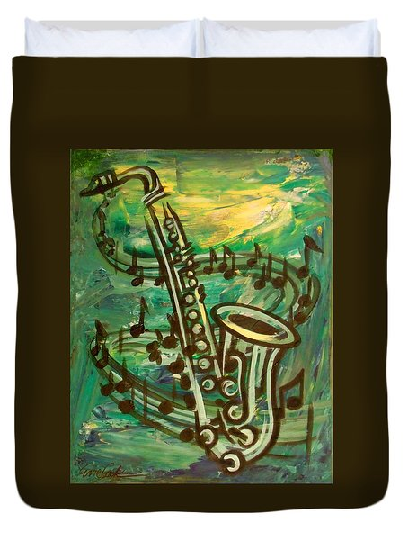 Blues Solo In Green Duvet Cover