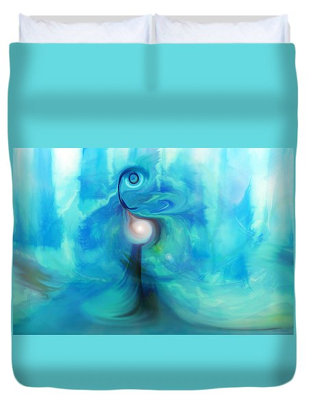Duvet Cover featuring the digital art Bluescape by Linda Sannuti