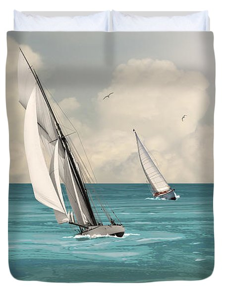 Bluewater Cruising Sailboats Duvet Cover