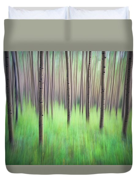 Blurred Aspen Trees Duvet Cover