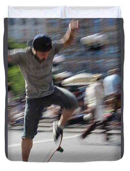 Blurred Skateboarder Duvet Cover