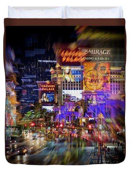 Blurry Vegas Nights Duvet Cover