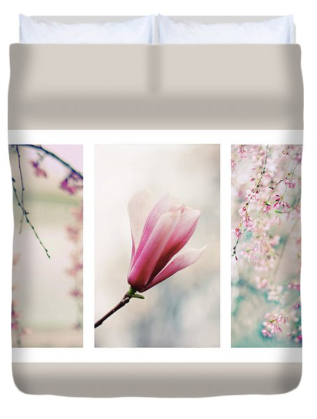 Duvet Cover featuring the photograph Blush Blossom Triptych by Jessica Jenney
