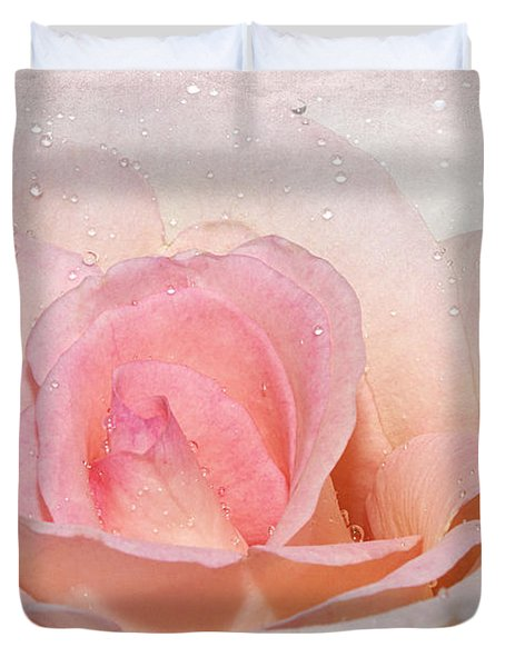 Blush Pink Dewy Rose Duvet Cover