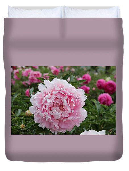 Duvet Cover featuring the photograph Blushing Pink Peony by Lynn Hopwood