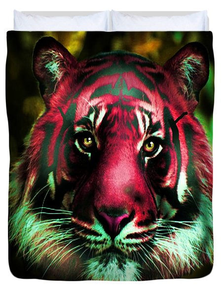Duvet Cover featuring the photograph Blushing Tiger by George Pedro