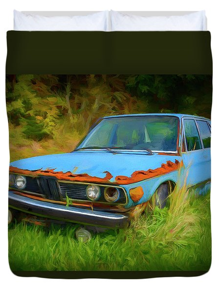Bmw Abandoned In The Weeds Duvet Cover