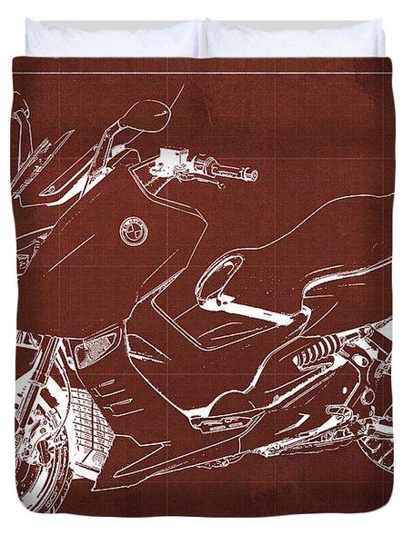 Bmw C600 Sport 2013 Blueprint Red And White Art Print Duvet Cover