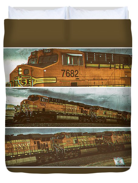 Duvet Cover featuring the digital art Bnsf 7682 Triptych  by Bartz Johnson