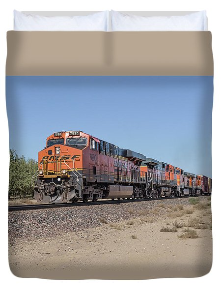 Duvet Cover featuring the photograph Bnsf7890 by Jim Thompson