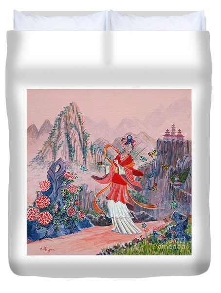 Duvet Cover featuring the painting Bo Chaa by Anthony Lyon
