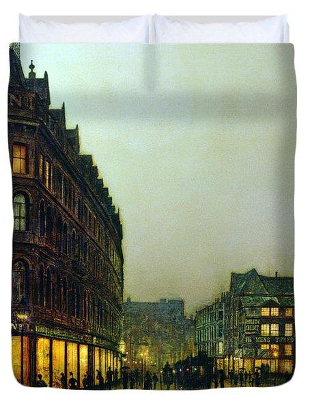 Boar Lane Duvet Cover by John Atkinson Grimshaw