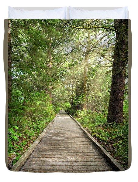 Boardwalk Along Hiking Trail At Fort Clatsop Duvet Cover
