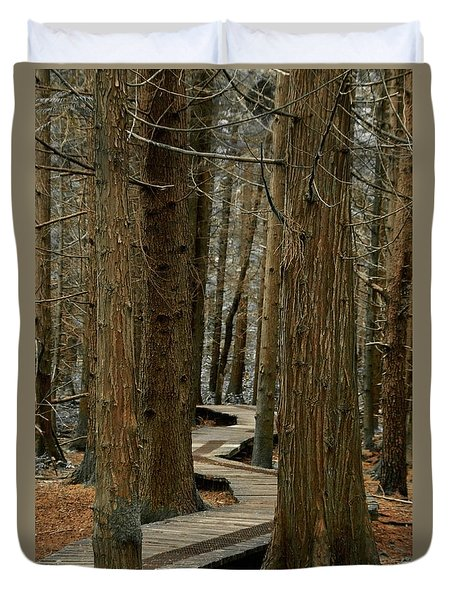 Duvet Cover featuring the photograph Boardwalk Among Trees by Scott Holmes