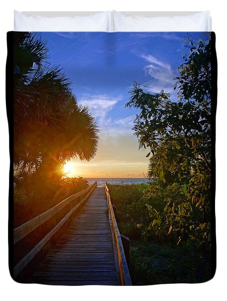 Sunset At The End Of The Boardwalk Duvet Cover