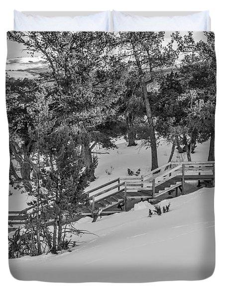 Boardwalk Climbing A Hill Duvet Cover