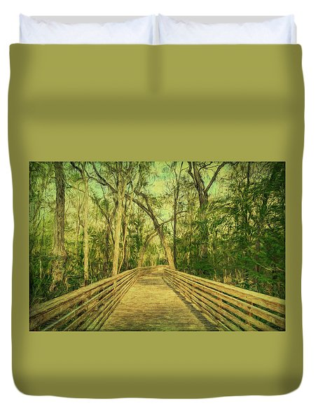 Duvet Cover featuring the photograph Boardwalk by Lewis Mann