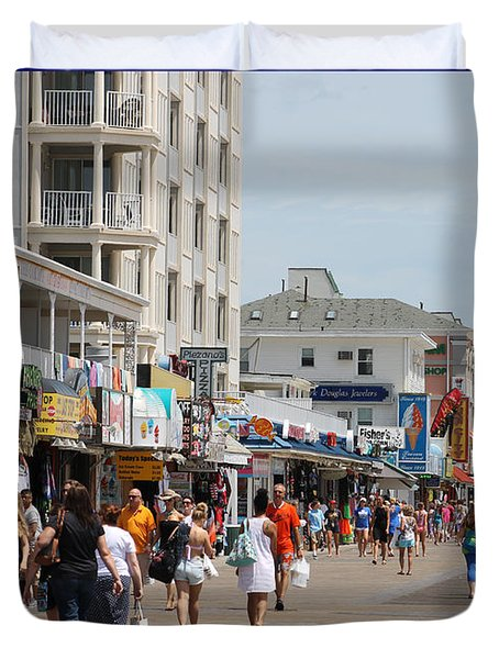 Boardwalk Ocean City Md Duvet Cover