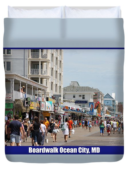 Duvet Cover featuring the photograph Boardwalk Ocean City Md by Robert Banach