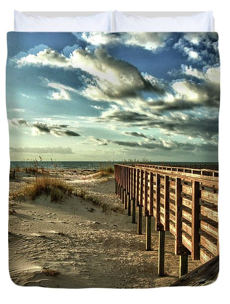 Boardwalk On The Beach Duvet Cover by Michael Thomas