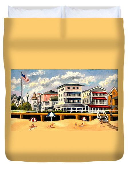 Boardwalk On The Jersey Shore Duvet Cover