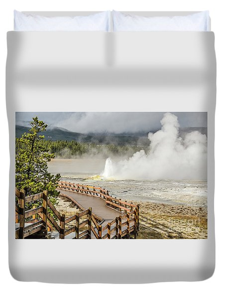 Duvet Cover featuring the photograph Boardwalk Overlooking Spasm Geyser by Sue Smith
