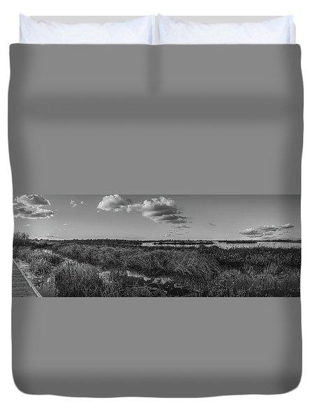Boardwalk Panorama Monochrome Duvet Cover