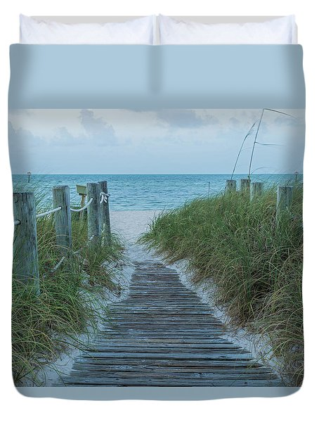 Duvet Cover featuring the photograph Boardwalk To The Beach by Kim Hojnacki