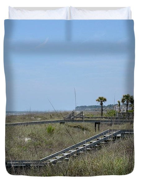Duvet Cover featuring the photograph Boardwalks And Sand Dunes by Carol  Bradley