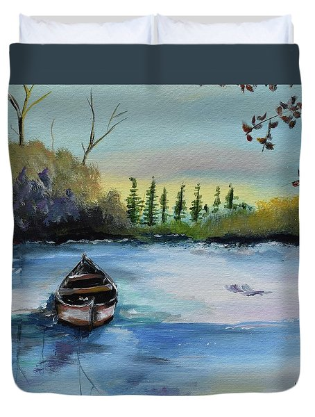 Duvet Cover featuring the painting Boat Abandoned On The Lake by Jan Dappen