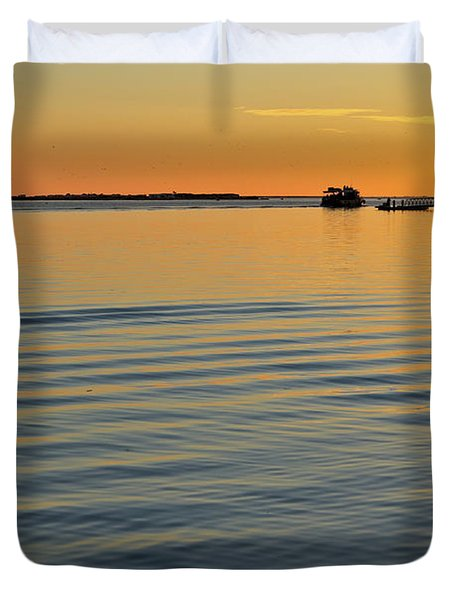 Boat And Dock At Dusk Duvet Cover
