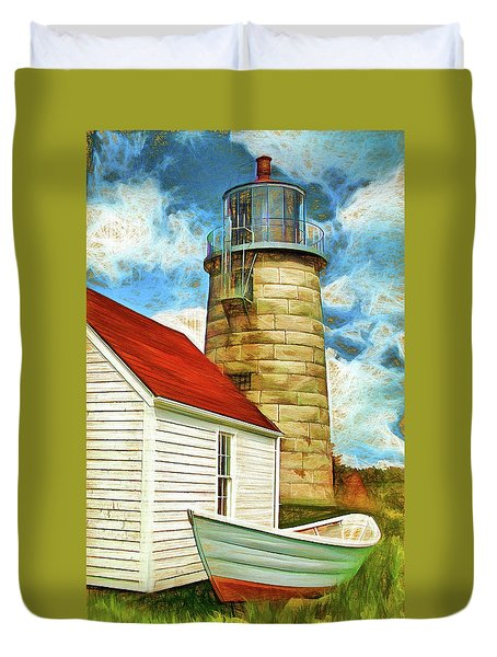 Boat And Lighthouse, Monhegan, Maine Duvet Cover by Dave Higgins