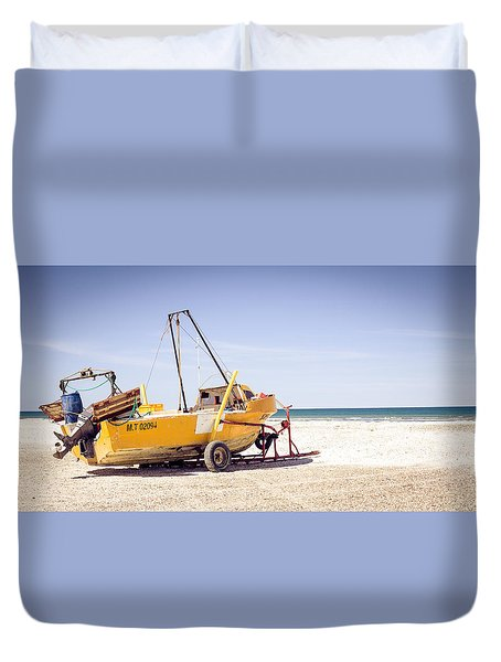 Duvet Cover featuring the photograph Boat And The Beach by Silvia Bruno