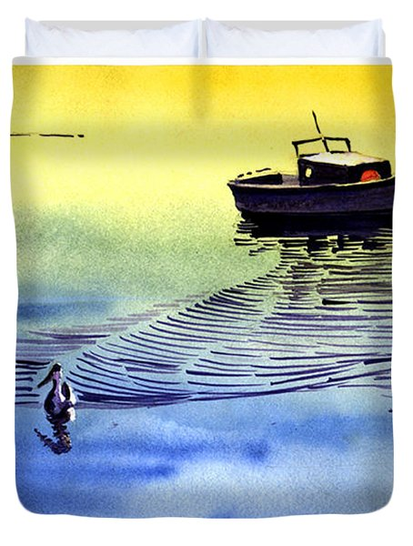 Boat And The Seagull Duvet Cover
