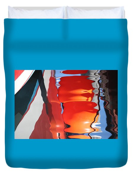 Boat And Wharf Reflection Duvet Cover