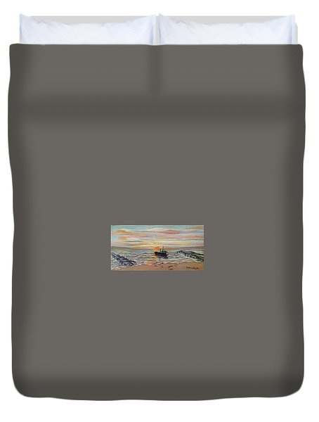 Boat At Dawn Duvet Cover
