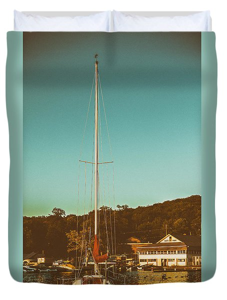 Boat At Lees Park Duvet Cover by Eleanor Abramson