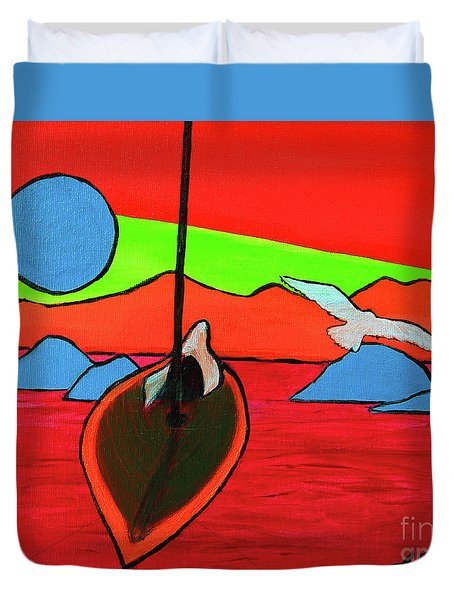 Duvet Cover featuring the painting Boat, Bird And Moon by Jeanette French