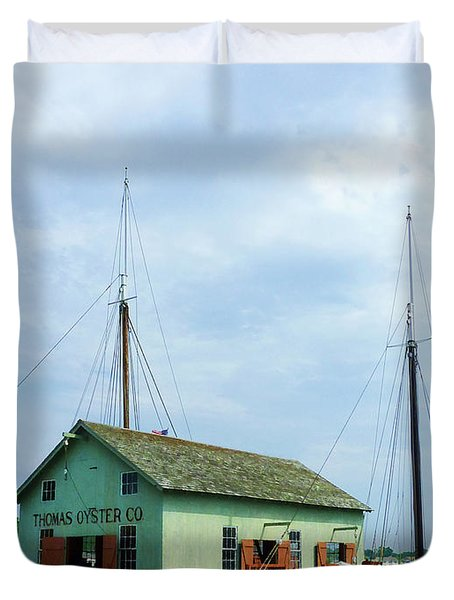 Boat By Oyster Shack Duvet Cover by Susan Savad