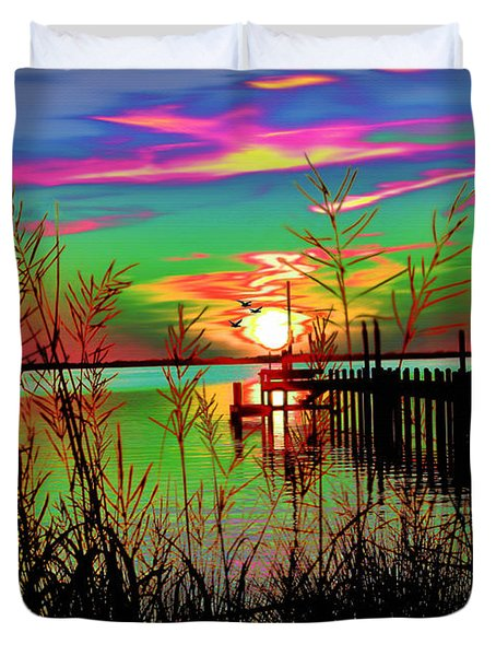 Boat Dock 3 Duvet Cover