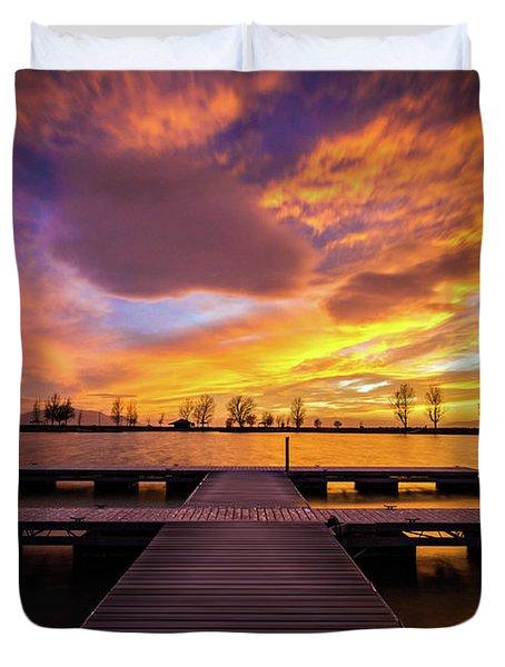 Boat Dock Sunset Duvet Cover