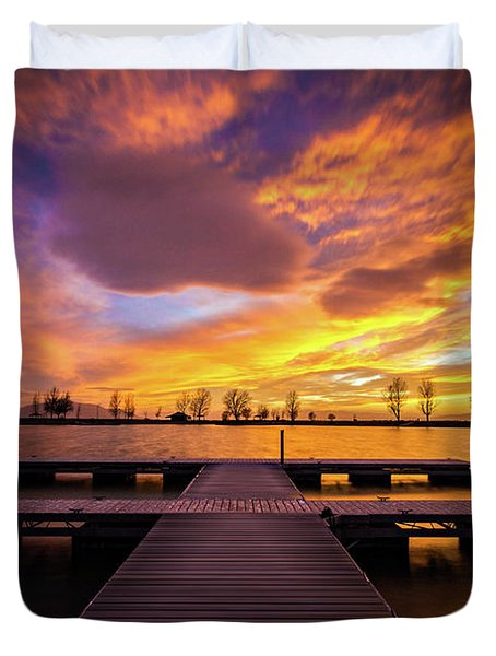 Boat Dock Sunset Duvet Cover