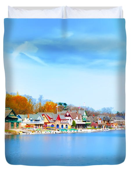 Boat House Row From West River Drive Duvet Cover by Bill Cannon