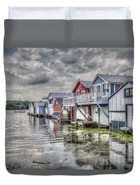 Boat Houses In The Finger Lakes Duvet Cover
