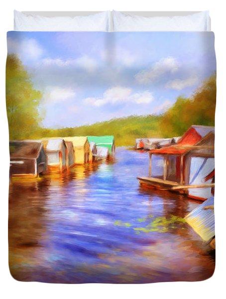 Boat Houses Duvet Cover