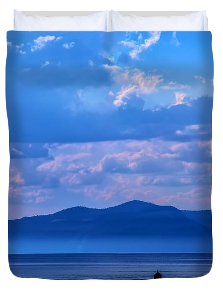 Boat In Lake Duvet Cover