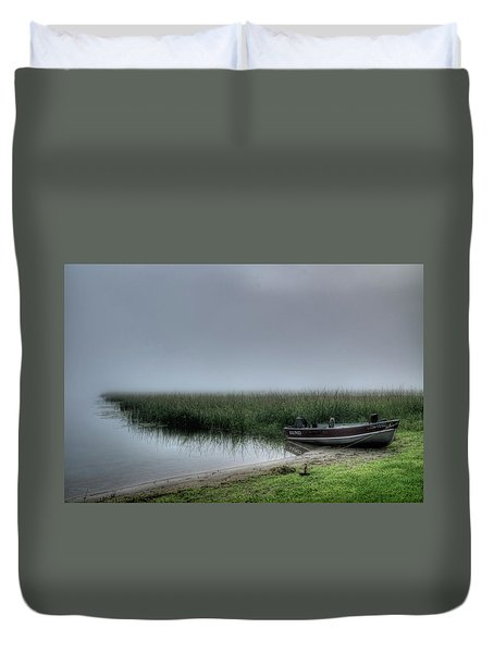 Boat In The Fog Duvet Cover